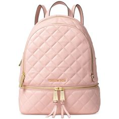 Michael Michael Kors Rhea Zip Medium Backpack ($201) ❤ liked on Polyvore featuring bags, backpacks, blossom, tote handbags, pocket tote, backpack tote, zippered tote bag and pink tote bag