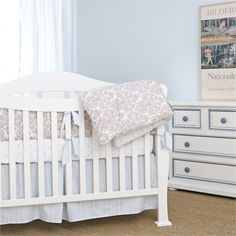 @rosenberryrooms is offering $20 OFF your purchase! Share the news and save!  Brocade Khaki 3-Piece Crib Bedding Set #rosenberryrooms