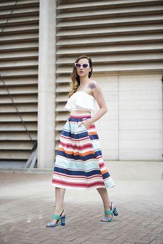 Skinny Buddha ruffle crop top multi colored striped midi skirt