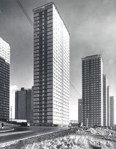 Red Road flats, Glasgow, 1960s.    from The Glasgow Story    The two 31-storey tower blocks and four 31-storey point blocks were designed for Glasgow Corporation in 1962 by Sam Bunton & Associates and at that time were the tallest residential blocks in Europe. They were built with steel frames clad in asbestos panels, the first time such a technique had been used in Glasgow. The asbestos has since been replaced.