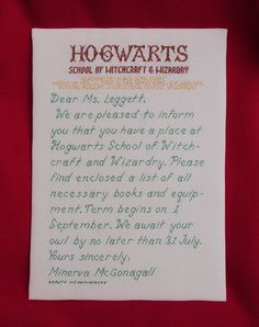 Every Harry Potter loving' child needs a cross-stitched Hogwarts acceptance letter for their birthday. Cross Stitch Harry Potter, Harry Potter Quilt, Modern Cross Stitch, Cross Stitch Designs, Cross Stitch Patterns, Cross Stitching, Cross Stitch Embroidery, Hogwarts Acceptance Letter, Hogwarts Letter