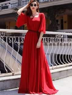 Shop Fashion Square Neck Chiffon Maxi Dress at EZPOPSY. Maxi Dress Wedding, Chiffon Maxi Dress, Maxi Dress With Sleeves, Dress Prom, Party Wear Dresses, Casual Dresses, Fashion Dresses, Fashion Styles, Maxi Outfits