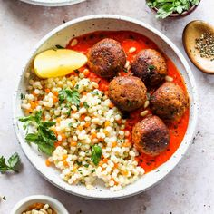 Moroccan Lentil Meatballs with Roasted Red Pepper Sauce #lentils #healthy #cook #Lentil #lentilrecipe #healthyeating #healthy #lifestyle #cleaneating #veganfood #nutrition #vegan #food #foodie #healthylifestyle Moroccan Meatballs, Lentil Meatballs, Veggie Meatballs, Lentil Recipes, Veggie Recipes, Whole Food Recipes, Vegetarian Recipes, Healthy Recipes, Veggie Meals