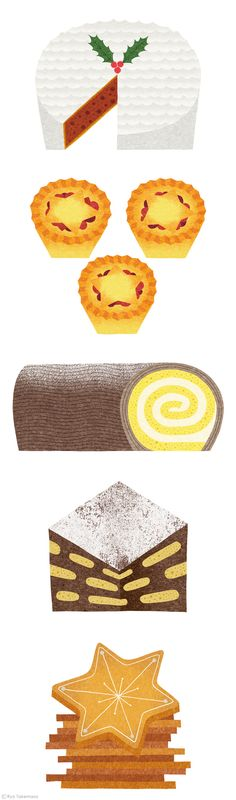 Christmas food illustrations by Ryo Takemasa. love the textures in these