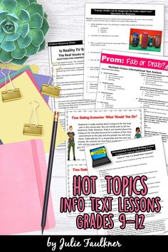 Hot Topics Informational Text Lessons for In School and Remote Learning