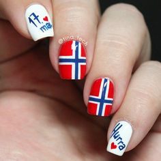 Norwegian Constitution Day, Norways national day with a special mani with the Norwegian flag. Hetalia, Chelsea Houska Hair, Country Nails, Flag Nails, Norwegian Flag, Norway Flag, Constitution Day, Long Brown Hair, Long Hair