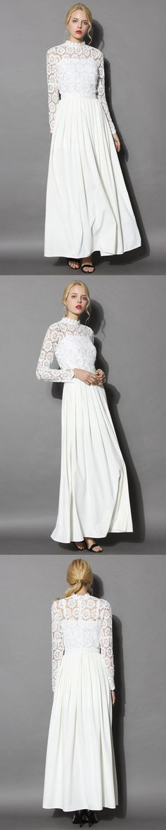 This romantic white maxi will be the center of everyone's focus- and it's easy to see why! Between the flower lace cutout overlay revealing peeks of skin, and the pleated maxi skirt, this one is made for a life-time special occasion indeed!