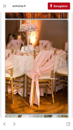 Pink Ribbon Chair Covers with Candelabra Centerpieces // gold chairs, romantic wedding, blush wedding, classic, Rose Wedding, Diy Wedding, Dream Wedding, Wedding Day, Wedding Blush, Luxury Wedding, Wedding Reception Chairs, Wedding Table, Wedding Chair Decorations