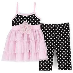 Little Lass 2-pc. Dot Leggings Set - Girls 12-24m - jcpenney