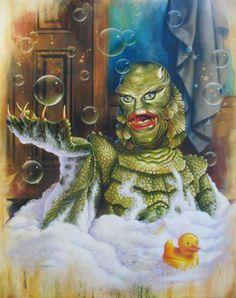 """Mr Soaky"" Creature From the Black Lagoon by Jason Edmiston for Rock Rebel Frankenstein, Beetlejuice, Jason Edmiston, Horror Monsters, Famous Monsters, Scary Monsters, Black Lagoon, Monster Art, Monster Squad"