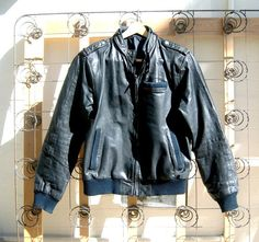 Vintage black leather Members Only bomber jacket by dahlilafound, $165.00