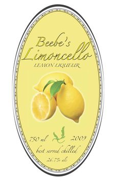Labels I designed for a home made Limoncello Liquor drink using InDesign and Illustrator. There were two different sized bottles explai. Limoncello Cocktails, Making Limoncello, Limoncello Recipe, Printable Labels, Food Labels, Printables, Diy Furniture Appliques, Lemon Liqueur, Lemon Party