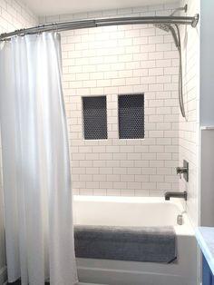 Tile Shower Niche, Bathroom Niche, Shower Tile Designs, Tub Tile, Shower Tub, Master Bathroom, Bathroom Ideas, Boy Bathroom, Downstairs Bathroom