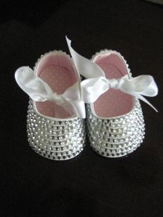 981d745f2e672 WHITE Sparkly Bling Infant & Baby Booties-Shoes / Custom Made to Order /