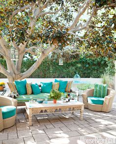 A vintage sofa and coffee table mix with Janus et Cie chairs in this outdoor space. A