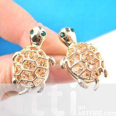 Cute Turtle Tortoise Sea Animal Stud Earrings in Gold with Rhinestones from Dotoly Love $8.99 #tortoise #turtles #animals #jewelry #earrings