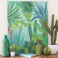 Lienzo pintado con cactus 73x92 cm JUNGLE | Maisons du Monde