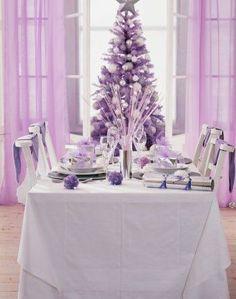 Decoración de Navidad en tonos lilas