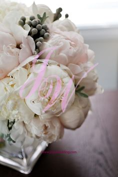 Small #centerpiece of #white and #blush #peonies are a #special and #elegant #floral  #arrangement for #wedding #days during the #summer.