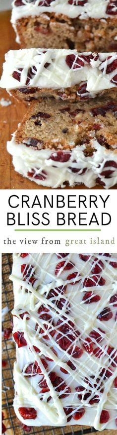 This Better Than Starbucks Cranberry Bliss Bread has all the bells and whistles of the original bars, but in an irresistible pound cake form. Skip the coffee shop and stay home and bake! Fall Desserts, No Bake Desserts, Just Desserts, Dessert Recipes, Cranberry Bread, Cranberry Recipes, Holiday Recipes, Cupcakes, Cupcake Cakes