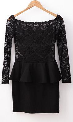 Black Long Sleeve Off The Shoulder Lace Ruffle Dress US$25.90
