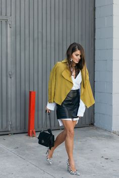 Jessie Chanes Seams for a desire - The Amity Company Oversized White Shirt Faux Leather Skirt Short Parka -1