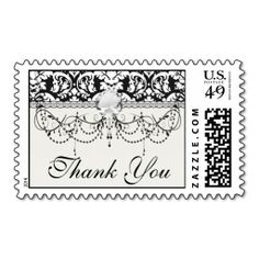 black and white damask flourish stamps