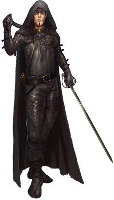 m Rogue Assassin Leather rapier Cloak urban river hills forest The Fencing Master Fantasy Heroes, Fantasy Male, Fantasy Rpg, Medieval Fantasy, Dark Fantasy, Fantasy Characters, Rpg Pathfinder, Pathfinder Character, Fantasy Portraits