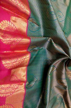 Green Shot Handloom Kanjeevaram Pure Silk Saree   #kanjeevaramsaree#