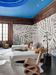 Kelly Wearstler wallpaper blue painted ceiling