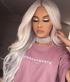 white hair, silver glitter eyeshadow, nude pink lipstick, Makeup