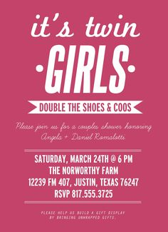 Wording ideas for invites. Baby shower, twin girls, couples shower, twins baby shower invitation.