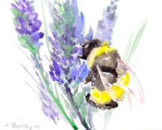 Bumblebee and Lavander  original watercolor by ORIGINALONLY, $30.00