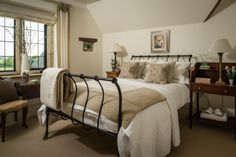 The countrified interiors within one of the double bedrooms