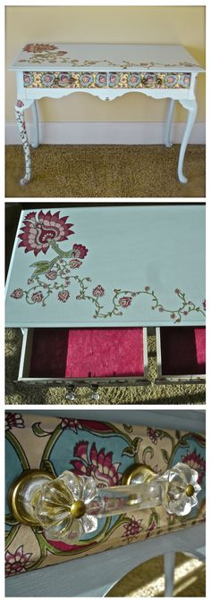 Upcycled desk.  Sanded, repainted, then decoupaged with handmade paper.  Finished with vintage hardware from Anthropologie... perfect for a little girl's room!