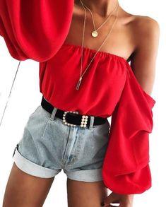 Off-shoulder Lantern Sleeve Chiffon Blouse – Lupsona Teen Fashion Outfits, Look Fashion, 90s Fashion, Womens Fashion, Fashion Belts, Fashion Pics, Fashion Clothes, Fashion Ideas, Mode Inspiration