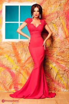Rochie rosie lunga eleganta tip sirena