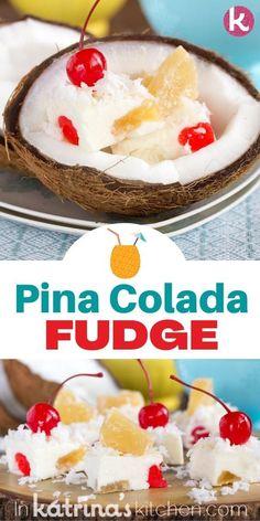 EASY Pina Colada Fudge recipe Delicious Fudge Recipe, Fudge Recipes, Best Dessert Recipes, Candy Recipes, Baking Recipes, Sweet Recipes, Kitchen Recipes, Recipes Dinner, Easy No Bake Desserts