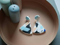 Triangle statement earrings, polymer clay earrings, abstract earrings, colorful earrings, abstract geometric earrings, modern earrings
