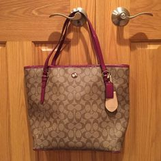 "Coach Signature Tote Bag New with tags Coach Signature Zip Top tote bag. 14""L x 4.5""W x 12""H Coach Bags Totes"