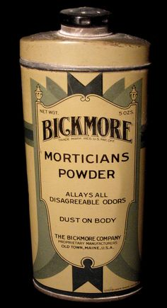 Mortician's powder. (from my collection of oddities) Vintage Medical, Baby Powder, Vintage Tins, Old Ads, Tentacle, Vintage Advertisements, Creepy, The Cure, Old Things