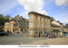 TODMORDEN, WEST YORKSHIRE - AUGUST 24, 2014: Buildings. Todmorden is a market town and civil parish in the Upper Calder Valley and 17 miles from Manchester. - stock photo