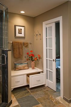 Tips, secrets, as well as quick guide in the interest of receiving the greatest result as well as coming up with the optimum utilization of walk in shower with bench Pantry Laundry Room, Laundry Room Bathroom, Small Bathroom Storage, Master Bathroom, Bathroom Ideas, Shower Ideas, Bathroom Bench, Bathrooms, Closet Renovation