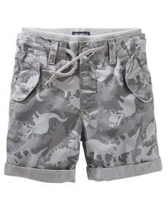 Pull-On Dino Camo Print Poplin Shorts