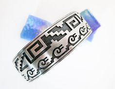 Vintage Wide Hopi Pueblo Silver Overlay Bracelet/ Cuff, Signed, Sterling Silver, ca.1950, Southwestern USA. by TampicoJewelry on Etsy
