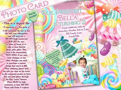 Photo Card Candy Land Photo Invitation Birthday by BellaLuElla