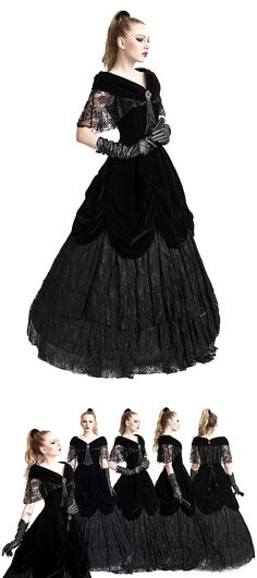 Punk Rave Lady De La Morte Stunning Gothic Gown The Lady De La Morte Gown is crafted with Sumptuous velvet material which has some ruching for a stunning effect Gothic Gowns, Gothic Outfits, Gothic Dress, Gothic Lolita, Dark Fashion, Gothic Fashion, Vintage Fashion, Vintage Outfits, Pretty Outfits
