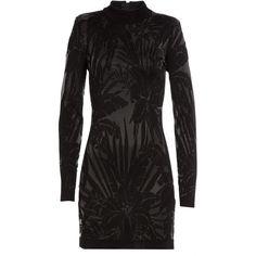 Balmain Tonal Print Mini-Dress ($1,980) ❤ liked on Polyvore featuring dresses, black, black mini dress, holiday cocktail dresses, long sleeve cocktail dresses, black dress and short black cocktail dresses