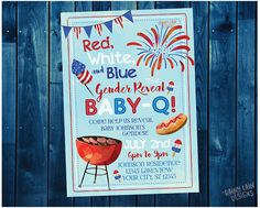 Red White and Blue Baby-Q Invitation, Gender Reveal Baby-Q, Gender Reveal Invite, 4th of July, BBQ Invite, Fourth of July, Watercolor, BabyQ, 4th of July Party Invitation, 4th of July Invite (affiliate)