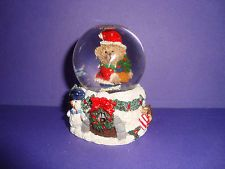 "2 1/2"" tall  TEDDY BEAR Santa holding Christmas Tree Mini SNOW GLOBE"